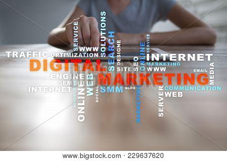 Digital Marketing Technology Concept. Internet. Online. Search Engine Optimisation Seo Smm Advertisi