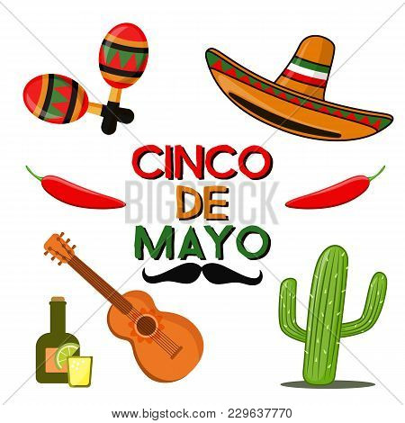 Cinco De Mayo Celebration In Mexico, Icons Set, Design Element, Flat Style. Collection Objects For C