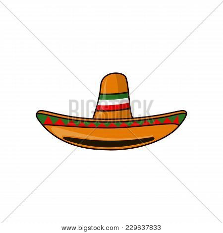 Mexican Sambrero Feast For Cinco De Mayo. Vector Illustration Isolated On White Background.