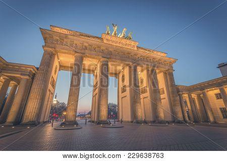 Berlin Brandenburger Gate At Night Clear Sky
