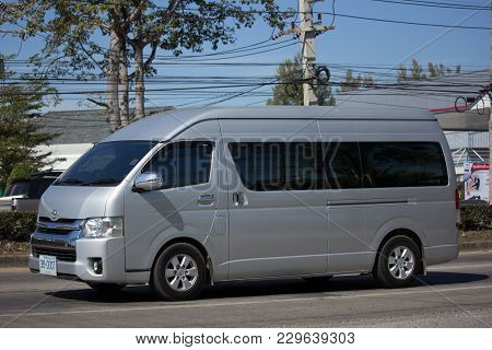 Chiang Mai, Thailand -january 25 2018: Private Toyota Commuter Van. Photo At Road No.121 About 8 Km