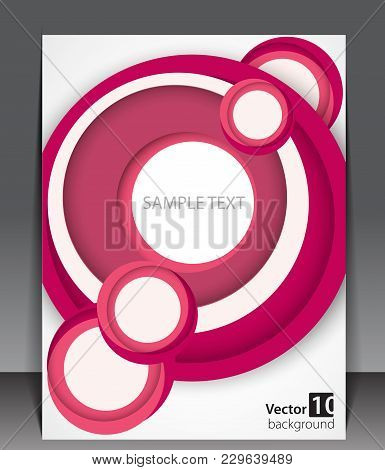 Pink Circles Vector Illustration. Creative Business Background. Cover For Folder