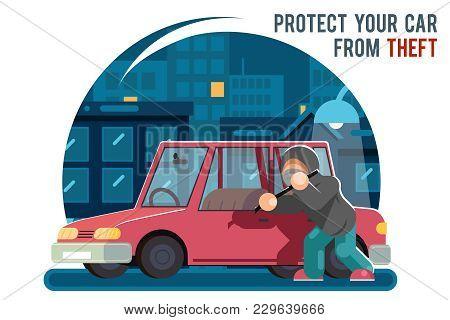 Automobile Car Steal Burglar Robber Thief Robbery Purse Character Icon Cartoon Flat Design Template