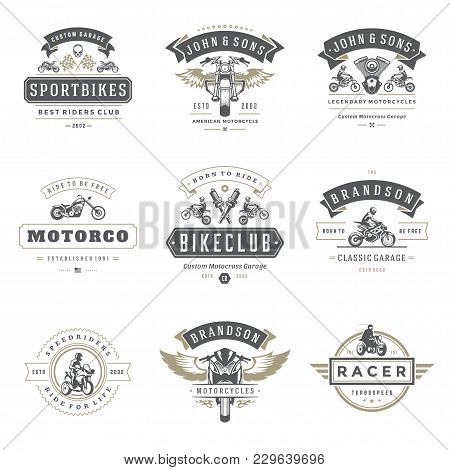 Motorcycles Logos Templates Vector Design Elements Set, Vintage Style Emblems And Badges Retro Illus