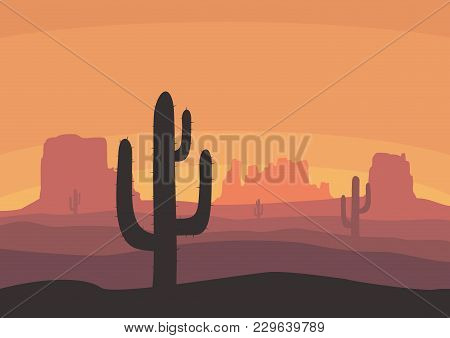 Desert Landscape With Cactus, Hills And Mountains Silhouettes. Nature Sunset On A Background Of A Mo