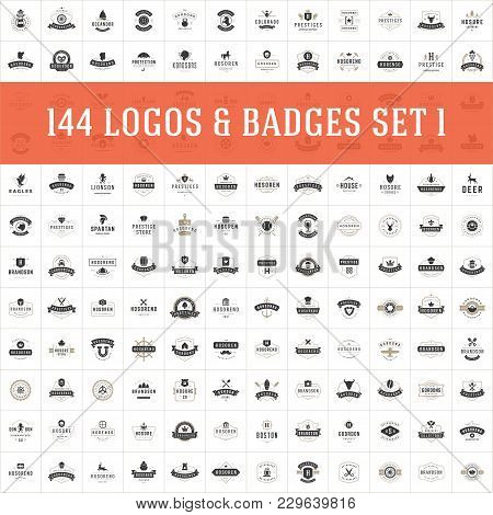 Vintage Logos Design Templates Set. Vector Logotypes Elements Collection, Icons Symbols, Retro Label