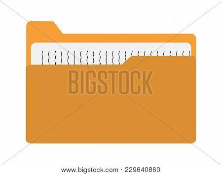 Yellow File Folder Icon On White Background. Folder Sign. Flat Style. Folder Icon With Paper On Whit