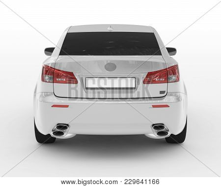 Car Isolated On White - White Paint, Tinted Glass - Back View - 3d Rendering