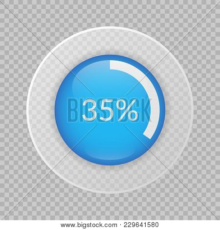 35 Percent Pie Chart On Transparent Background. Percentage Vector Infographics. Circle Diagram Isola