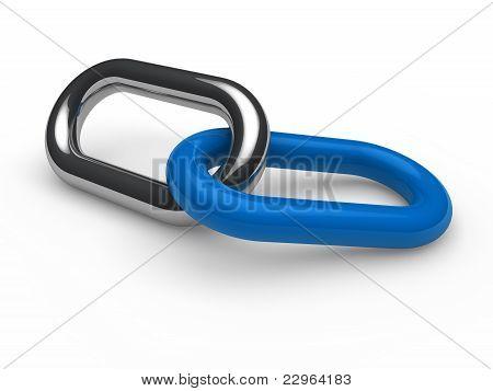 3D Blue Chrome Chain