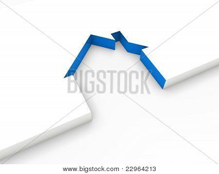 3D House Line Blue