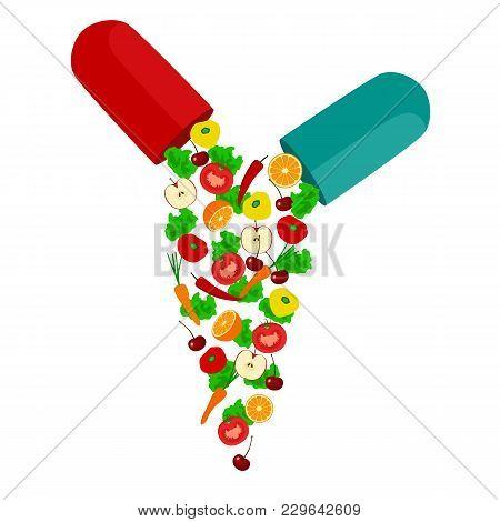 Healthy Lifestyle. Health Vitamins Flat Design.vector Illustration