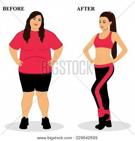 Thin And Fat. Obesity. From Fat To Thin. Before And After. Healthy Lifestyle. The Woman Becomes Thin