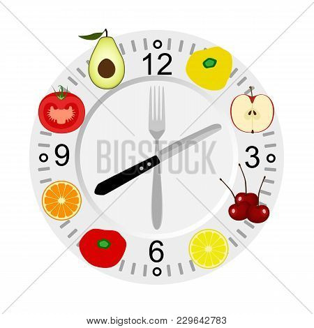Healthy Lifestyle. Dinner Time. Health. Calories.the Weight. The Choice Cutlery Vector Illustration