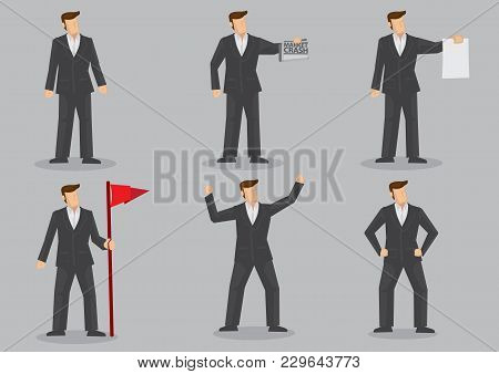 Set Of Six Vector Illustration Of Cartoon Businessman In Black Suit In Different Gestures Isolated O