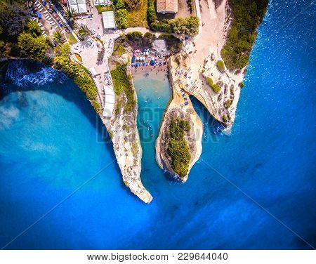 Canal D'amour, Corfu Kerkyra, Greece. The Most Well Known Beach On The Island, With It's Turqoise Wa