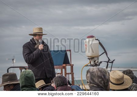 Amish Auctioneer At Annual Bart Mud Sale