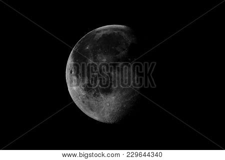High Contrast Waning Gibbous Moon, Almost Full Moon, Seen With An Astronomical Telescope