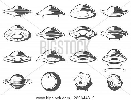 Alien Spaceship, Spacecrafts And Ufo Set. Cosmic Ship In Form Saucer For Transportation. Monochrome
