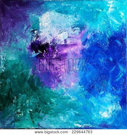 Abstract Acrylic Painting On Canvas In Blue, Purple, White And Green.
