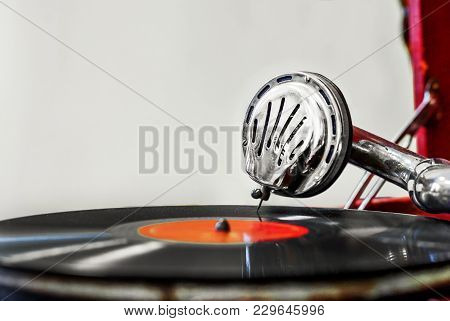 Ancient Vintage Gramophone, Playing Head, Plate Music Box
