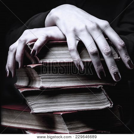 Knowledge Pays Best Investment For Future. Woman With Books  (education And Self Development Concept