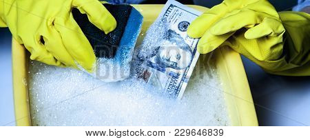 Money Laundering (illegal Cash, Dollars Bill, Shady Money, Corruption, Manipulation Concepr)
