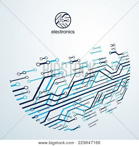 Futuristic Cybernetic Scheme, Vector Motherboard Illustration. Digital Element, Circuit Board. Techn