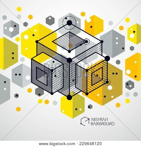 Engineering Technological Yellow Vector 3d Background Made With Cubes And Lines. Illustration Of Eng