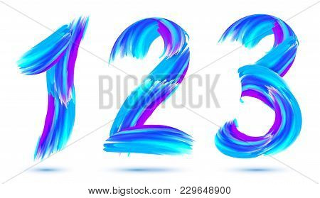 Blue Paint Brushstrokes Vector 1, 2, 3 Numbers Set On White Background