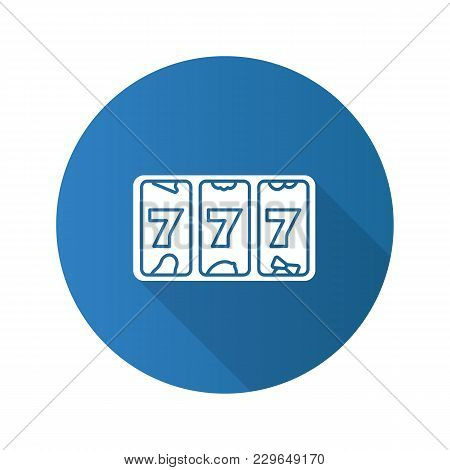 Slot Machine With Three Sevens Flat Design Long Shadow Glyph Icon. 777. Lucky Seven. Casino. Vector