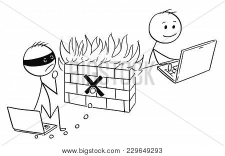 Cartoon Stick Man Drawing Conceptual Illustration Of Businessman Working Safely On Computer While Ha