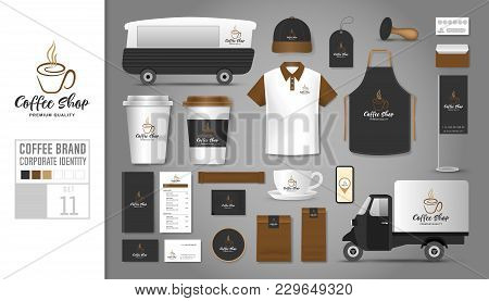 Corporate Identity Template Set 11. Logo Concept For Coffee Shop, Cafe, Restaurant. Realistic Mock U