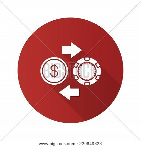 Real Money Casino Flat Design Long Shadow Glyph Icon. Gambling Chips And Cash Money Exchange. Vector