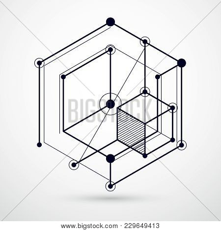 Engineering Technology Vector Black And White Backdrop Made With 3d Cubes And Lines. Engineering Tec