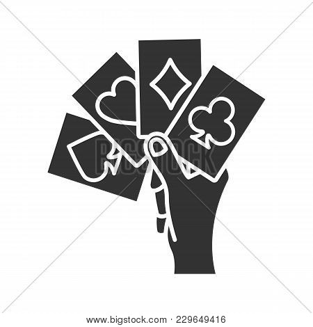 Hand Holding Four Aces Glyph Icon. Playing Cards. Poker. Kare. Silhouette Symbol. Negative Space. Ve