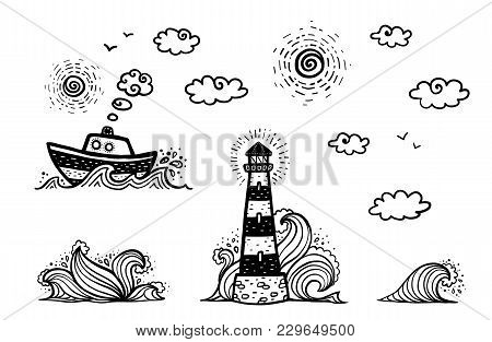 Marine Set In Cartoon Doodles Style: Ship, Lighthouse, Waves, Sun And Clouds Isolated On White Backg