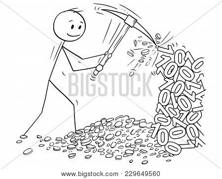 Cartoon Stick Man Drawing Conceptual Illustration Of Mining Cryptocurrency By Pickax Or Pick From Ro