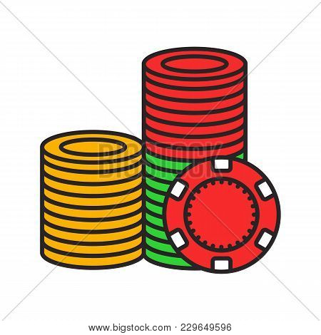 Casino Chips Stack Color Icon. Casino. Isolated Vector Illustration