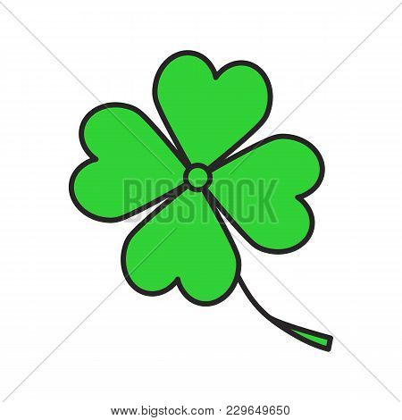 Four Leaf Clover Color Icon. Symbol Of Success And Good Luck. Isolated Vector Illustration