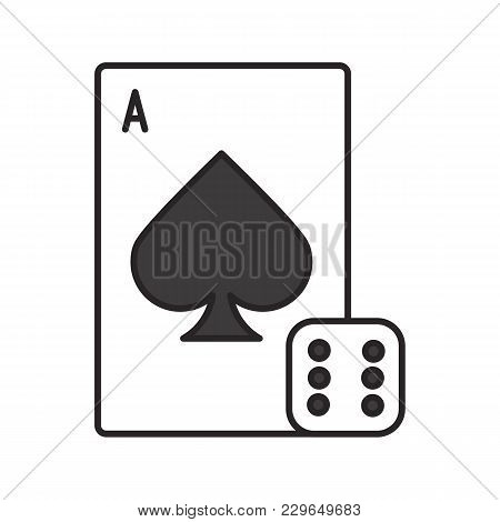 Dice And Playing Card Color Icon. Casino. Gambling. Isolated Vector Illustration