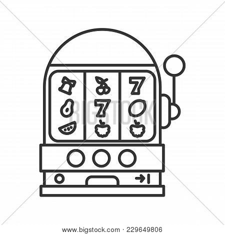 One Armed Bandit Linear Icon. Slot Machine. Thin Line Illustration. Casino Contour Symbol. Vector Is