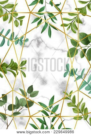 Floral Template With Gold Geometric Frame, Herb And Bushes Branches With Leaves In Watercolor Styliz