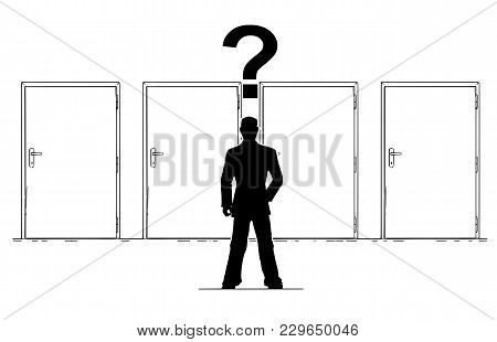 Cartoon Stick Man Drawing Conceptual Illustration Of Businessman With Question Mark Above His Head I