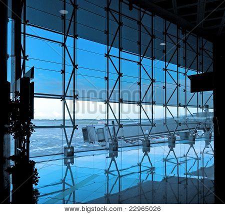 Modern international airport terminal
