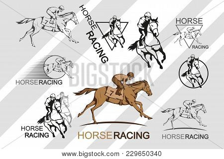 Set Of Horse Racing. Jockey On Racing Horse Running To The Finish Line. Race Course