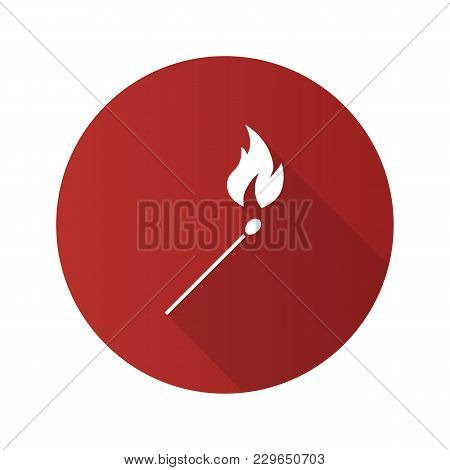 Burning Matchstick Flat Design Long Shadow Glyph Icon. Arson. Vector Silhouette Illustration