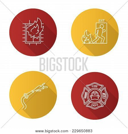 Firefighting Flat Linear Long Shadow Icons Set. House On Fire, Firefighter Badge, Garden Hose, Emerg