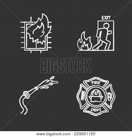 Firefighting Chalk Icons Set. House On Fire, Firefighters Badge, Garden Hose, Emergency Exit. Isolat