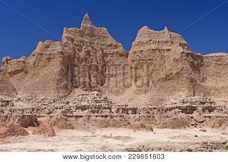 Dramatic Walls In A Barren Landscape In Badlands National Park In South Dakota